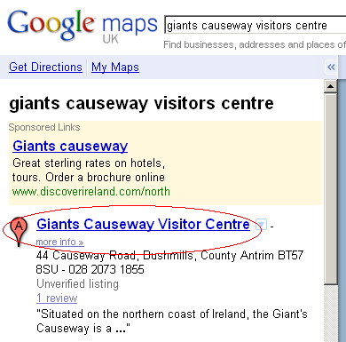 Google Maps Marker A